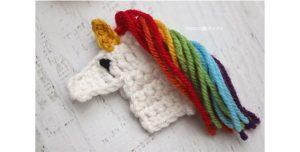 Image of crocheted unicorn applique