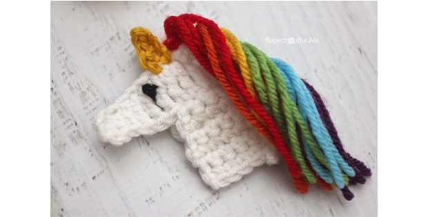 Image of crocheted unicorn applique